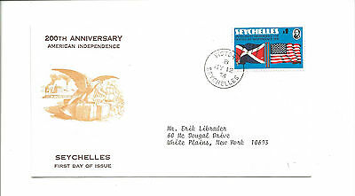 1976 Seychelles FDC to NY   American independence