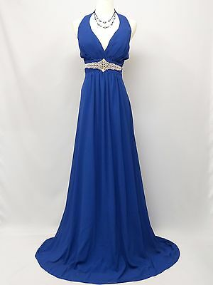 Cherlone Chiffon Blue Long Ballgown Bridesmaid Formal Wedding/Evening Dress 14