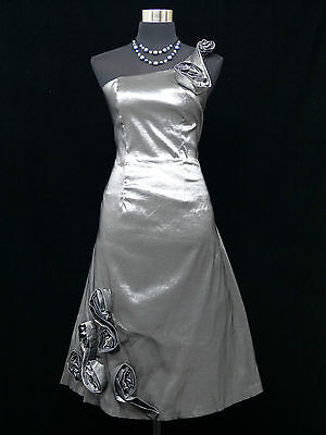 Cherlone Grey One Shoulder Prom Ball Evening Wedding Bridesmaid Dress Size 16-18