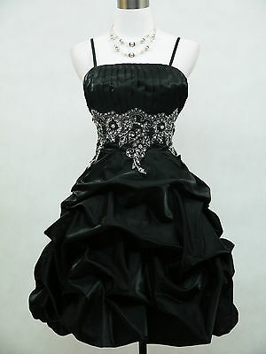 Cherlone Black Prom Party Ball Evening Bridesmaid Wedding Formal Dress Size 14