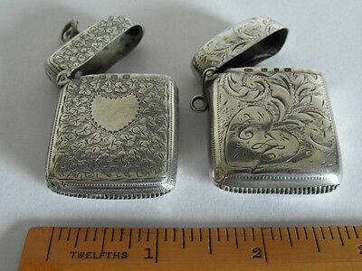 TWO Antique Silver Vesta Case Birmingham 1908 & 1911 - Engraved Decoration