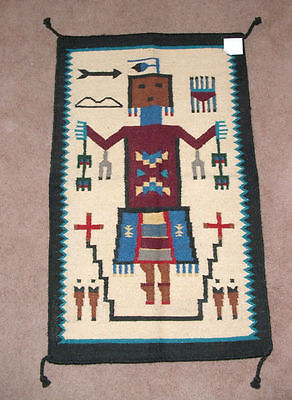 "Area Rug Tapestry Wall Hanging Wool 27x44""' Native Yei's Southwestern New"