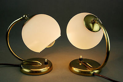 Pair of Mid Century Brass & Glass Bedside / Wall Lamps Art DECO 60s 40s 50s Era