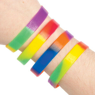 Rainbow Rubber Wrist Bands Perfect Party Bag Filler for Children (Pack of 10)