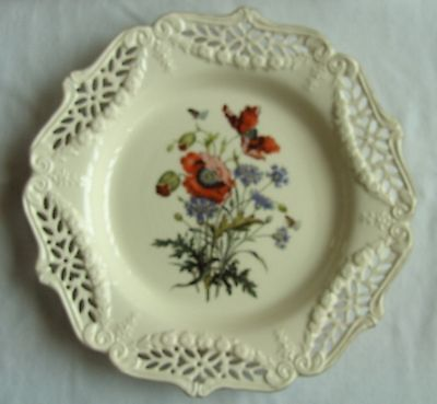 Vintage Royal Cream ware Plate decorated with Poppies, Limited Edition.