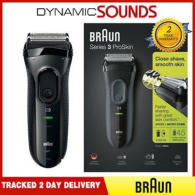 Braun Series 3 ProSkin 3000s Men Electric Rechargeable Shaver Smooth Razor Black