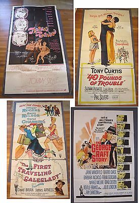 4 Vintage 1-Sheet & 3-Sheet Movie Posters 1950s. Astaire, Mansfield, Curtis +