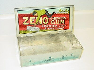 Zeno Manufacturing Co Chewing Gum Tin Metal Display Box Original Metal Container