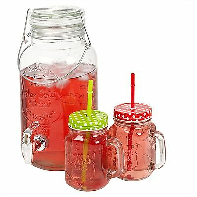 Home Garden Party Glass Beverage Jug Spout Tap Jar Clamp Lid Drink Dispenser
