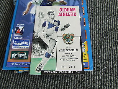 Oldham Athletic V Chesterfield 1962-3