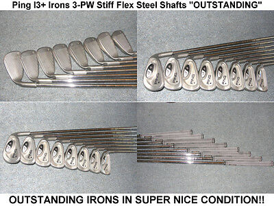 "Ping i3+ Irons Black Dots 3 thru PW Stiff Steel Shafts ""EXCELLENT"""