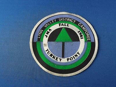 Boy Scouts Patch Badge Jma Fall 1981 Lynn Valley District Camporee Turkey Point