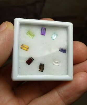 5x3mm 8pcs Gemstone Assortment Mixed Faceted Gems Amethyst Blue Topaz Garnet