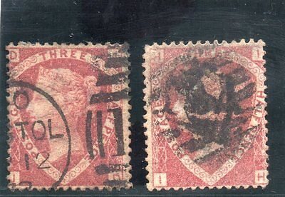 G.B. - used QV - SG52  - 1 1/2d Lake Red - Plates 1 nd 3 - Cat Val £120