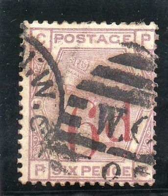G.B. - used QV - SG162 ( Plate 18 )  - 6d on 6d Lilac  - Cat Val £130