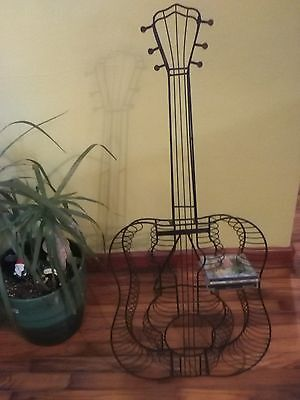 Black Metal Guitar Shaped CD Music Rack Stand Compact Disc Holder Wall Floor or