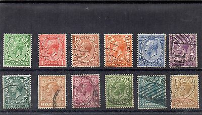 G.B. - Used King George V Defins - Block Cypher - Set of 12 - Cat Val £60