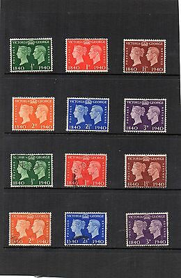 G.B. - George V1 - Postage Centenary x 12 - Hinged Mint and Used set - SG479/484