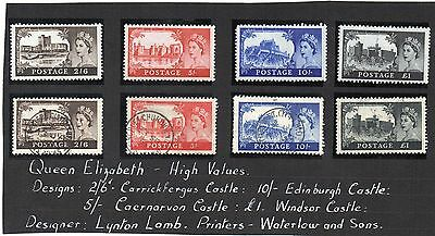 G.B. - Non Hinged Mint and Used Castles Sets - 8 stamps - unchecked