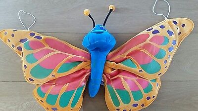kids butterfly costume wings plush orange & blue