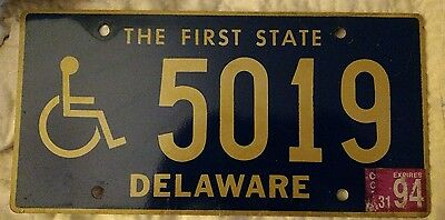 """1994 Delaware """"the First State"""" Handicap License Plate"""