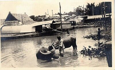 Great Thailand Bangkok Royal Barge Canal Postcard, Real photo.C1930
