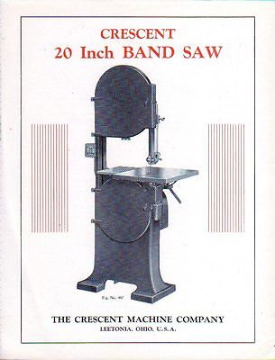 1932 Crescent Band Saw Original Brochure near Mint