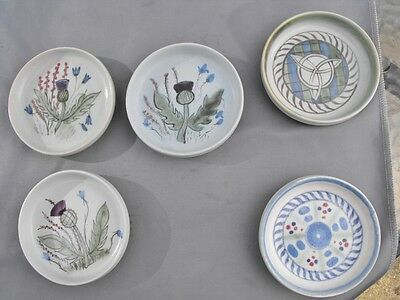 Five hand decorated Buchan Pottery Scotland pin dishes
