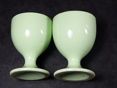 Vintage PAIR OF PALE GREEN Footed EGGCUPS, Gilded,?Bishop & Stonier