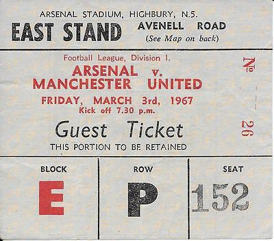Ticket Arsenal v Manchester United 1966/67