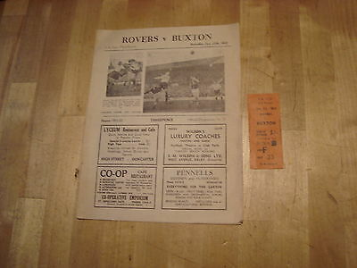 Doncaster Rovers v Buxton FA Cup Jan 1952 + ticket