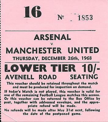 Ticket Arsenal v Manchester United 1968/69