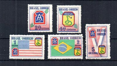 Wwii Brazil 1945 Scott# 635-9 Victory Over The Axis Powers. Flags. Compl Set Mnh
