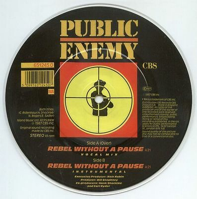 "PUBLIC ENEMY UK 1987 PICTURE DISC 7"" Single Rebel Without A Pause	NearMINT"