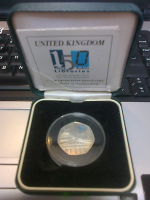 UK 2000 SILVER PROOF 50 PENCE COIN ''LIBRARIES'' cased + Cert.