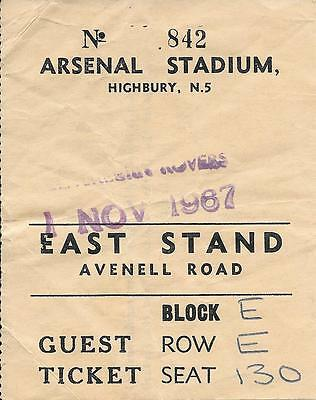 Ticket Arsenal v Blackburn Rovers League Cup 4th Round 1967/68
