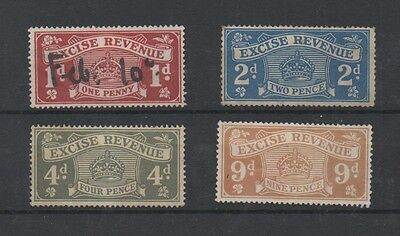 4 Excise Revenue Stamps 1916 issue