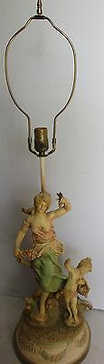 Antique French Cold Painted Spelter Neo-Classical Lady & Putti Lamp Moreau