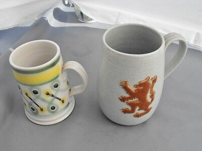 Buchan Pottery Scotland two hand decorated mugs