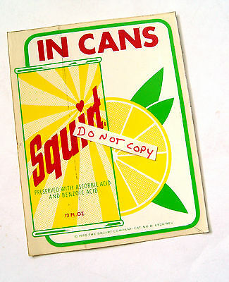 Old Original Clean Fresh Color Squirt In Cans Soda Pop Advertising Sign Sticker