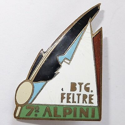 Unusual Vintage Art Deco Italy Enamel 7Th Alpine Battalion Military Pin