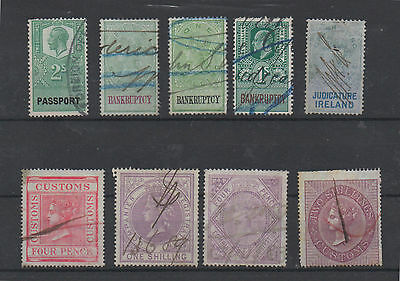 9 Mixed Fiscal/Revenue Stamps
