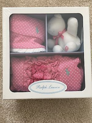 New in Gift Box Baby Girl Ralph Lauren Set - 3 Months Romper, Hat & Teddy