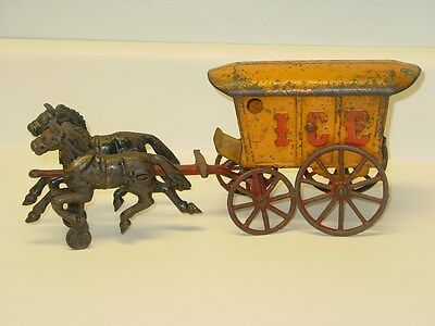 "Vintage Cast Iron Hubley ""Ice"" Wagon / Cart With Horses, Toy, Original"