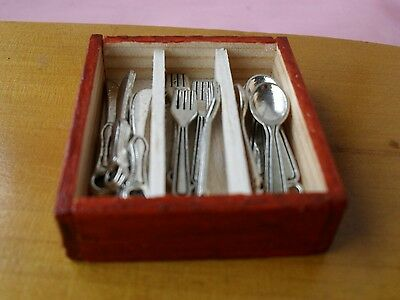 Dolls House Handmade Cutlery Box And ( Six  Place Setting )