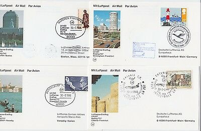 LUFTHANSA 1986 4x official illustrated FFC post cards