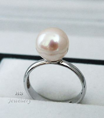 HS Rare South Sea Cultured Pearl 9.89mm Ring 925 Sterling Silver Top Grading