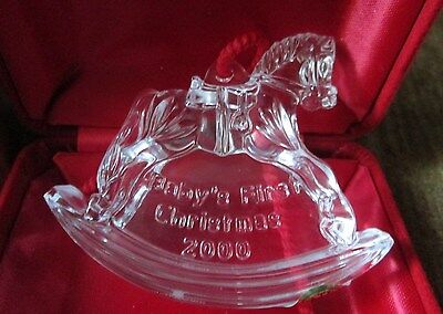 Waterford Crystal Unisex 2000 Baby's First Christmas Rocking Horse Ornament NIB