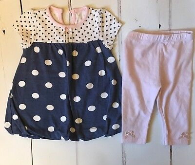 George 3/6 Months Girls Blue And White Polka Outfit With Leggings