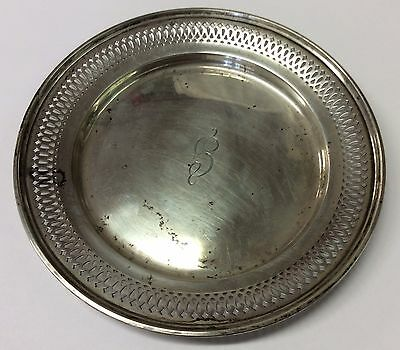 "WHITING #1236 Antique 1916 STERLING SILVER 6"" PIERCED PLATE Reticulated 82 Grams"